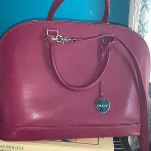 PULICATI Purple Bugatti Saffiano Handbag w/ strap